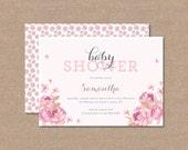 "Floral Lovely Baby Shower Announcements "" DIGITAL PRINTABLE FILE """