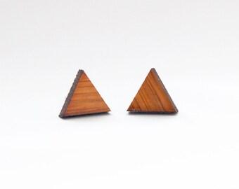 Bamboo Triangle Earrings - Wood Jewelry