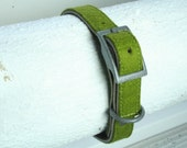 "Dog Collar - Leather and Wool Felt - Medium  3/4"" - Olive Green"
