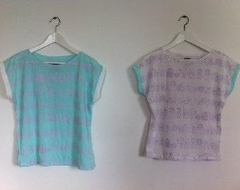 Cute pastel SNOW WHITE silkscreen handprinted short sleeve t-shirt  / tee : pick one