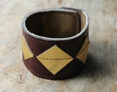 Diamonds Leather Cuff in Burgundy and Gold