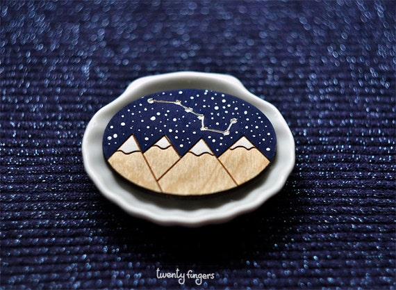 "Wood Laser cut Brooch starry sky with the constellation ""Ursa Major"""