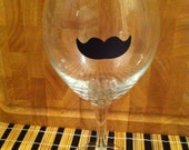 Small Mustache wine glass vinyl