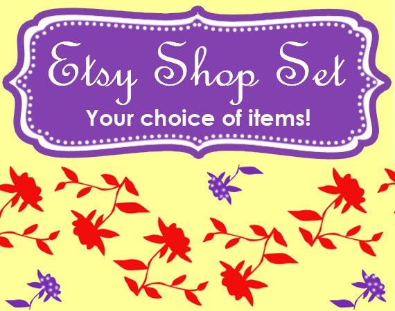 ASSEMBLE YOUR OWN Premade Etsy Banner & Shop Set 21 - Flowers, red, purple, yellow