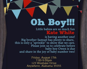 Banner/Bunting Baby Shower Invitation-- Baby Sprinkle or Sip n See -- Custom -- Modern Oh Baby, Oh Boy  Second Baby