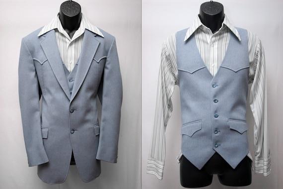 Vintage Men's Blue Western Jacket Vest Retro Slim Fit Rockabilly Suit Blazer Size 42