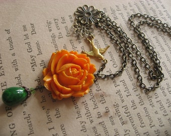 SALE SALE Spring orange rose and flying sparrow necklace