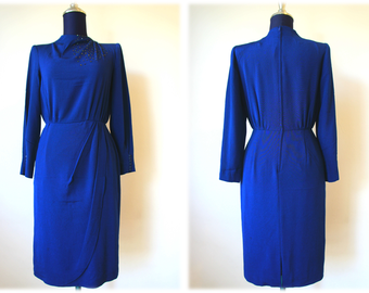 Sale 30% off from 42 US to 29.4 US - 60'S Night Blue Sequin Shoulder Dress // Cocktail Dress // Size M