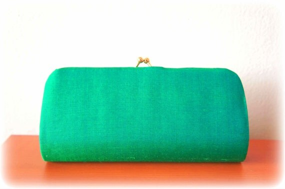 Jewel Beetle or Turquoise Color  Vintage Handmade Clutch // Shining Blue Green Vintage Handmade Clutch Purse