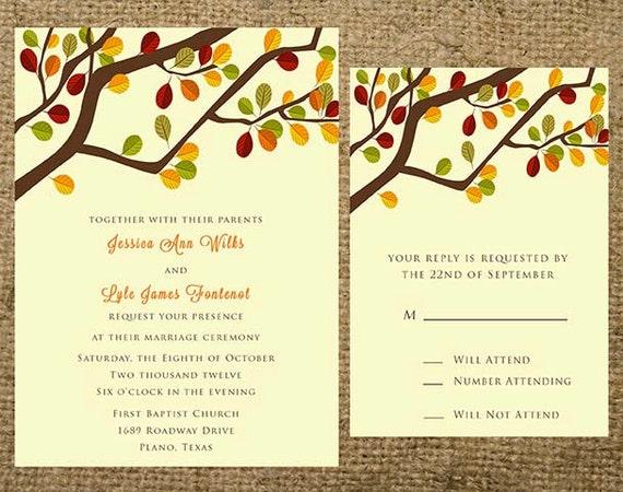 Fall Wedding Invitation Wording: Items Similar To PRINTABLE Fall Autumn Tree Branch Wedding
