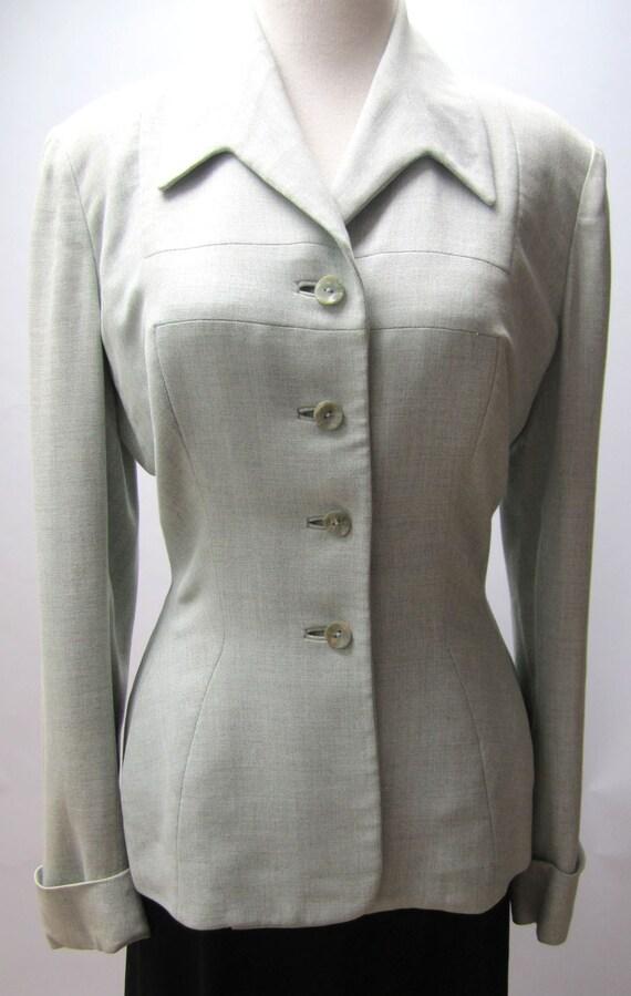 vintage 1940s betty rose jacket light blue grey