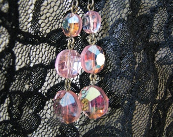 EMMA Vintage Shabby Pink Crystal Beads Assemblage Earrings