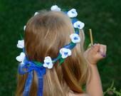 flower girl wreath tiara crown white flowers wreath blue sapphire ribbon wedding flowers baby headband