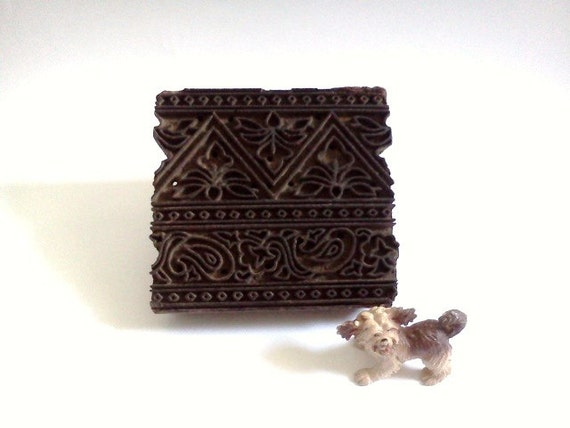Antique Indian Wood Stamp Hand Carved  Floral and Geometric