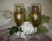 Wedding Toasting Flutes... Winter Gala....Anniversary....Hand Painted....Set of Two