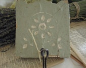 Vintage Wall Hook on Antique Architectural Block / Light Moss Green / Farmhouse Decor / Rustic