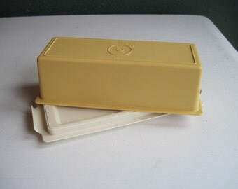 Vintage Tupperware Butter Keeper w/ Sheer Base & Harvest Gold Yellow Lid, MINT