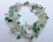 Shades of Mossy Green Agate Chip and Seed bead Multistrand Hand Beaded Bracelet