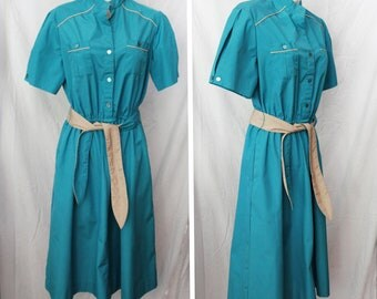 Lovely Vintage Blue Shirt Dress w/ Contrasting Piping