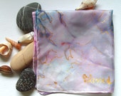 Silk Original batik handpainting handkerchief  Blessed,Ready to Ship
