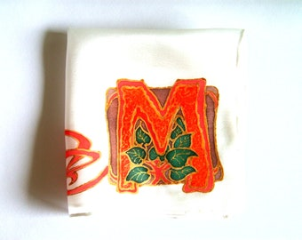 "Silk Original batik handpainting handkerchief Art Nouveau  monogram initial ""M"" .Ready to Ship"