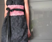 Woman black dress and lace obi belt in coral or blue.3411