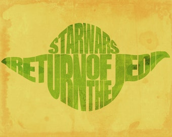 "Star Wars Yoda Word Art 11"" x 14"" Print"