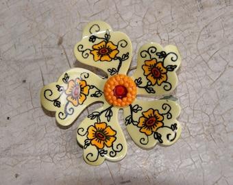 Yellow Enamel West Germany Flower Pin