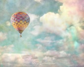 Balloon Amidst  The Cotton Candy Clouds- 16 x 20 Fine Art Photography Print - Colourful Surreal Nursery Home Decor Photograph