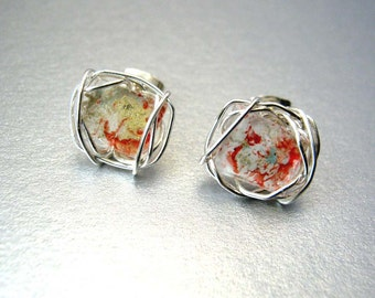 Art Mosaic Stud Earrings Red White Gold Wire Wrapped Post Earrings