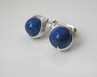 Blue Lapis Stud Earrings, Lapis Lazuli Post Earrings, Large Stud Earrings, Blue Gemstone Studs, Gift Ideas