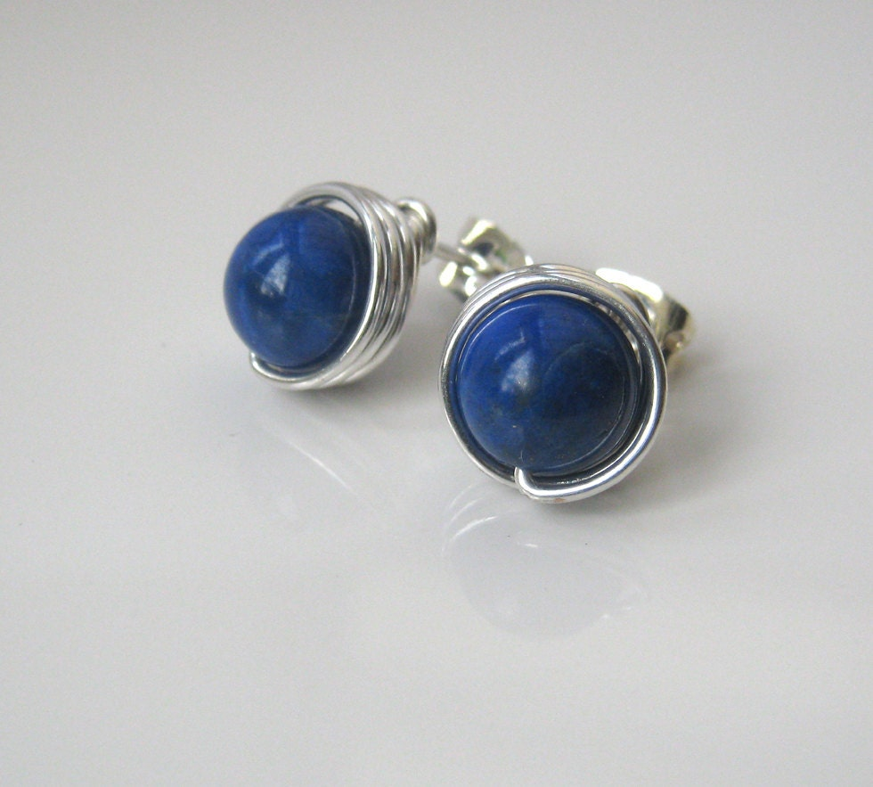 blue lapis stud earrings lapis lazuli post earrings large