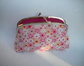 Large coin purse with 2 compartment Metal Frame wallet, cute pink flower - floral fabric