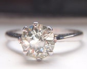 Engagement Ring.Tiffany Style. Solitaire Old European .80Ct Diamond. White Gold. Vintage. Classic, Timeless and Elegant Design.