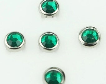 C-043 / 20sets Synthetic Crystal Prong Studs Rhinestone / 40 pcs (Come with box) /  5.5 mm. / Color - Green