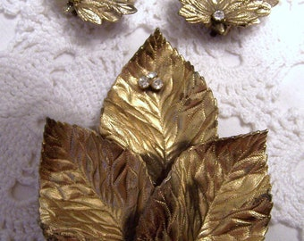 Vintage Gold Leaf Brooch and Earrings with Crystals on them-Large Brooch, very nice set-Clip on Earrings