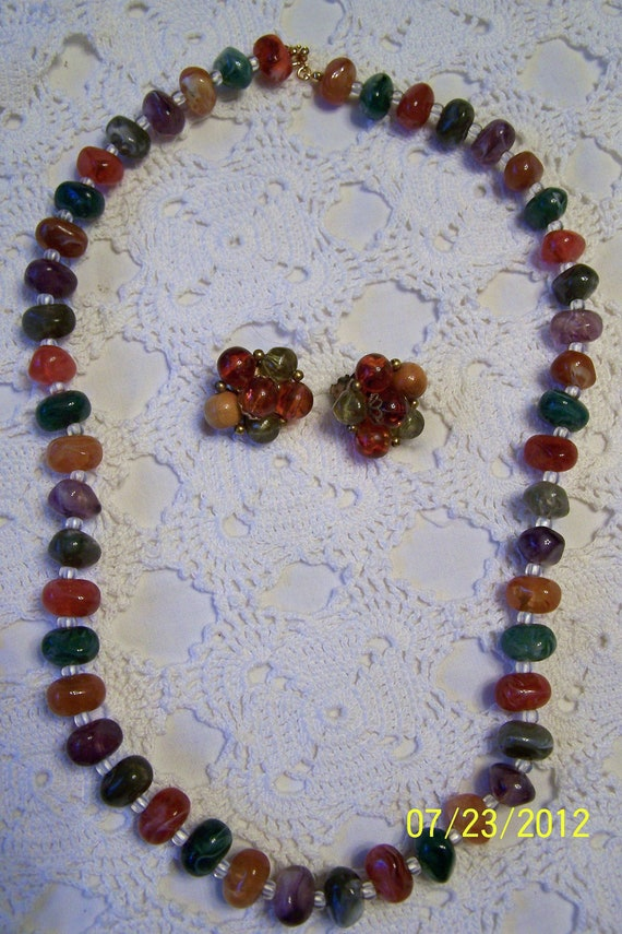 Vintage Avon Multicolored Stones Necklace & Vintage Multicolored Earrings-Earrings aren't Avon, but go with it well