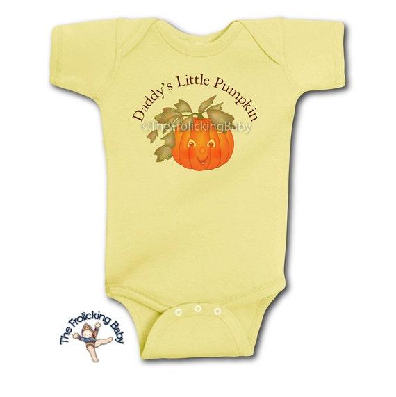 Halloween Baby Onesie for Daddy's Little Pumpkin. Jolly Jack-o-Lantern Bodysuit