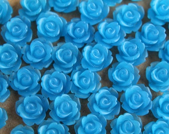 30 pc. Frosted Blue Rose Cabochon 10mm | RES-022