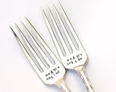 Wedding Forks Me and You Say I Do (tm) Fork Set Hand Stamped Wedding Silverware
