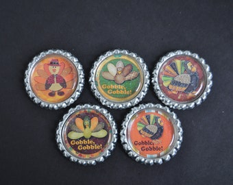 FInished Thanksgiving GLITTER bottlecaps--- Set of 5---For hairbows, jewelry, magnets, scrapbooks, picture frame-