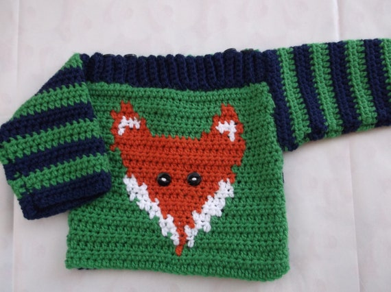 Crochet pattern instructions for a Babies Fox Sweater, cute baby jumper with fox motif 0 - 2 yrs