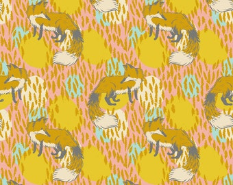 Timber and Leaf by Sarah Watts for Blend One Yard of Playful Fox in Pink