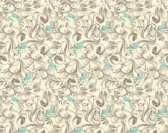 Timber and Leaf by Sarah Watts for Blend One Yard of Bird Flora Grey