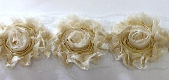 1 yards...15 flowers - Shabby Rose SHINY Ivory Frayed Vintage w/Canvas Chiffon Rosette Flower Trims