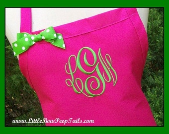 Best Seller! Hot Pink Personalized Apron - Designer Personalized Monogrammed Apron Chefs Gift Lime Green Bakers Wedding bridemaids