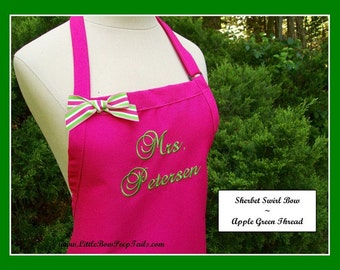 "Hot Pink Bridal Dress ""Mrs."" Apron - Her New Married Name - Bridal Shower Gift - Lime Green Monogrammed Personalized Wedding"