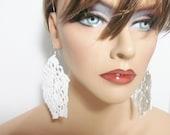 White Crochet Earrings