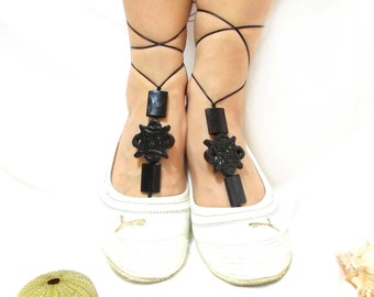 Pair Barefoot sandal,  Black barefoot sandal, Gothic Anklet, beaded sandals, Black bangle, Steampunk, Toe ring anklet, Slave anklet, Yoga