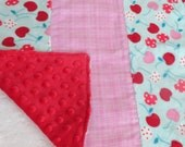 Cherry Plaid Handmade Lovey Blankie - Girl - Pink, Red and Blue - Cherry Minky - Plaid Flannel - Bubble Minky - PoppyHillBaby